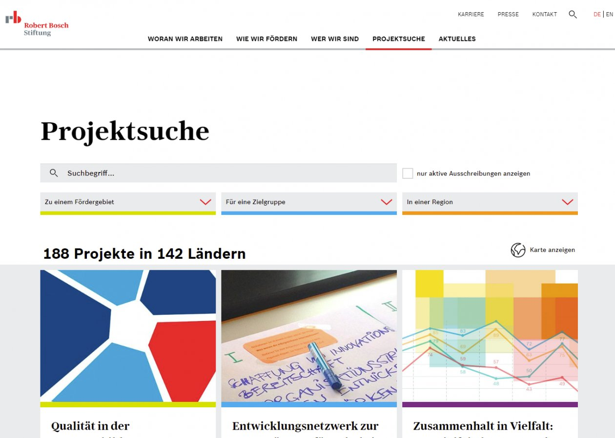 Robert Bosch Stiftung Website FUF Internetagentur